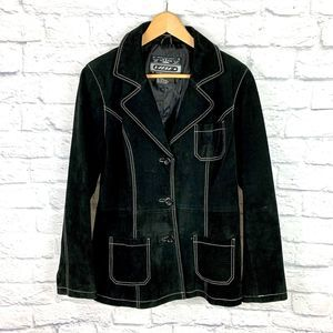 Urban Vibe Suede Leather Blazer Jacket Black Sz L